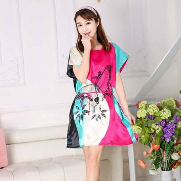 HOOYI 2018 Women Nightgown Summer Dress Floral Sleepwear Print Nightwear