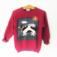 Vintage 1990s Cow Cat Hand Knit Sweater