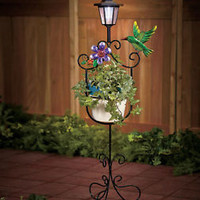 Hummingbird Solar Lighted Flower Plant Stand Deck Patio Garden Yard Home Decor