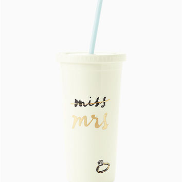 miss to mrs. tumbler with straw | Kate Spade New York