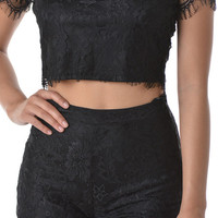 Show You Off Lace High-Waisted Shorts - Black