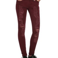 Burgundy Deconstructed Skinny Jeans