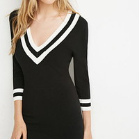 Varsity-Striped Sweater Dress