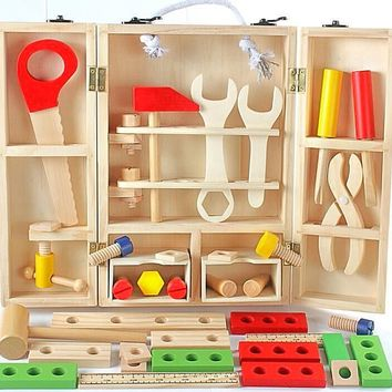 Carpenter's Tool Box Set Wood Work bench Pretend Toy For Children