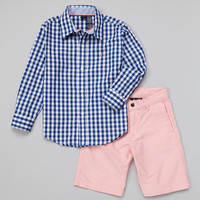 Navy Gingham Button-Up & Salmon Shorts - Toddler | something special every day