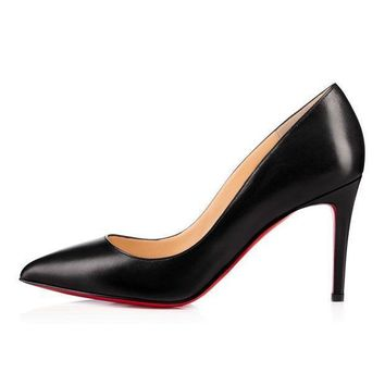DCCK2 christian louboutin cl pigalle black leather 85mm stiletto heel