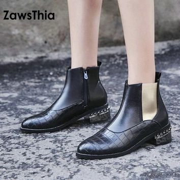 ZawsThia 2018 square low heel zipper side woman ankle boots punk rock motorcycle martin boots women winter shoes bootie size 48