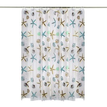 Waterproof Shower Curtain Seashell Conch Star with 12 Curtain Hooks