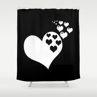 Black & White Hearts of Love Shower Curtain by BeautifulHomes