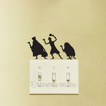Hitchhiking Ghosts Velvet Wall Stickers - The Haunted Mansion Light Switch Wall Decals - Laptop Decals - iPad Sticker -Ghost Room Decor
