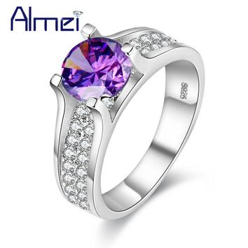 Almei Vintage Jewelry Ring With Pink Blue CZ Zircon Jewellery Anel Feminino Luxury Crystal Rings For Women Best Gifts Girls Y006