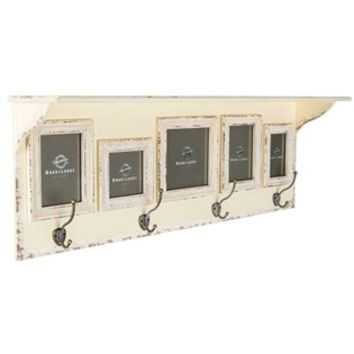 Antique Cream Wall Shelf with 5-Frames & 4-Hooks | Shop Hobby Lobby