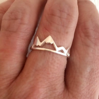 Silver Mountain Range Ring, delicate adjustable band travel adventure mountains hiking outdoors love birthday graduation gift
