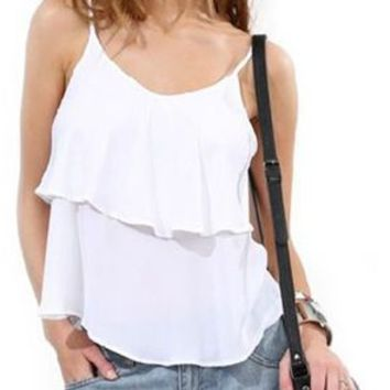 Stylish Ruffle Spaghetti Strap Tank Top