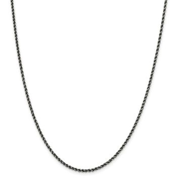 925 Sterling Silver Ruthenium 2.28mm Rope Chain Necklace, Bracelet or Anklet