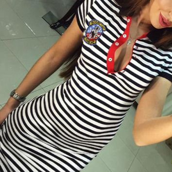 Band Collar  Contrast Stitching  Striped  Short Sleeve Casual Dresses
