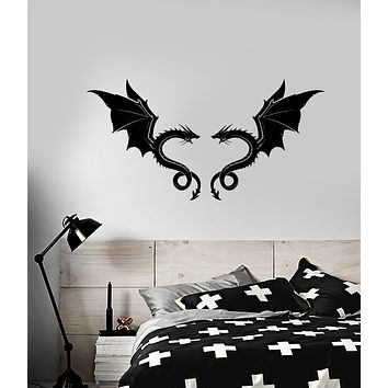 Vinyl Wall Decal Two Dragons Fly Celtic Fantasy Decor Stickers (3207ig)