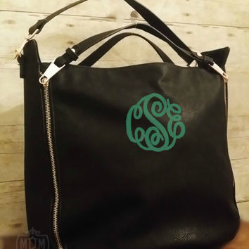Monogrammed Hobo Handbag - Black Faux Leather - Personalized Satchel - Double Handle Purse - Monogrammed Pocketbook - Monogram Tote