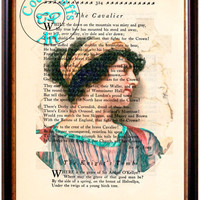 Androclea 1915 Woman Pencil Drawing Beautifully Upcycled Vintage Dictionary Page Book Art Print