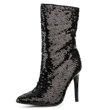 "Black Sequin Pointy Toe Ankle Boot Full Side Zipper 4"" High Heels"