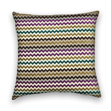 Zig-Zag Decorative Pillow Cover -- 20 x 20 Throw Pillow Cover--Green, Purple, Silver, Brown, Gold.