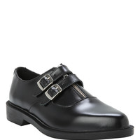 T.U.K. Black Zippered Two Buckle Jam Shoe