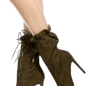 Olive Faux Suede Peep Toe Booties @ Cicihot Boots Catalog:women's winter boots,leather thigh high boots,black platform knee high boots,over the knee boots,Go Go boots,cowgirl boots,gladiator boots,womens dress boots,skirt boots.