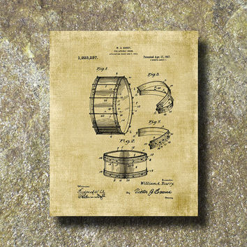 Collapsible Drum Patent Print Art Illustration Printable Instant Download Poster UP008bur