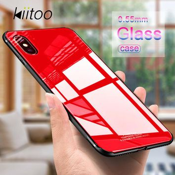 Kiitoo Luxury Glass Case For iPhone X iPhone 8 Plus 7 Phone Back Cover TPU Frame Hard Cases For Apple iPhone 7 for iPhoneX Coque