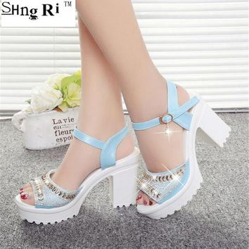 2016 Summer style Women's shoes wedge thick with high heel sandals female platform seq
