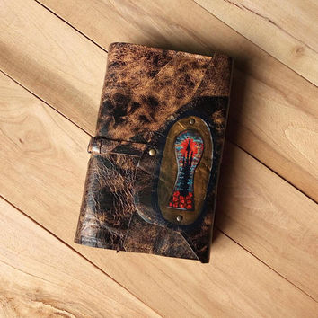 Dark Tower leather book cover / Stephen King inspired book cover / KA / Katet / Rose patchwork book cover / Keyhole fantasy book cover