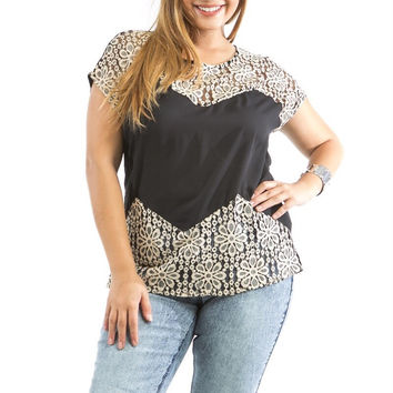 Plus Size Lace Short Sleeve Top in Black & Beige