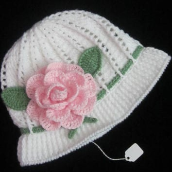 Crochet Cloche Sun Panama Hat, Crochet Flower Panama, Crochet Flower Sun Hat, White Cloche Hat for children Girl Hat with brim Baby Girl hat