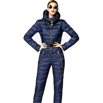 Super fashion! 2016 skinny winter jacket women parka duck down coat hooded skisuit rompers womens jumpsuit doudoune femme coats