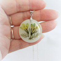 Real Flower  resin pendant Nature unique jewelry Resin Botanical  Necklace  Easter gift Mothers Day