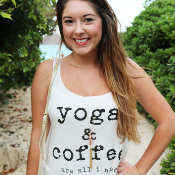 Yoga & Coffee Graphic Tank - New Arrival