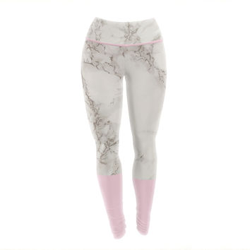 "Suzanne Carter ""Marble And Pink Block"" Modern Contemporary Yoga Leggings"