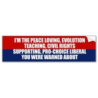 I'm the liberal you were warned about bumper stickers from Zazzle.com