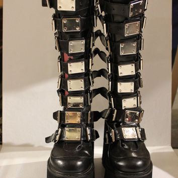 90s knee high platform combat boots, silver buckles, black faux leather, goth boots, 1990s rage, vintage dominatrix
