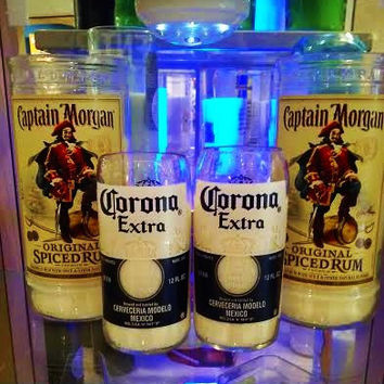 NEW- Corona Beer Bottle & Captain Morgan's Rum Bottle Natural Soy Candles Gift Set- Set of 4