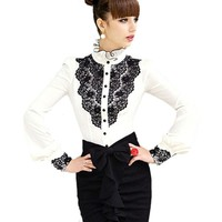 Blouse Shirts Women Lace Patchwork White Blouses Female Brand Ruffles Stand Collar Shirt Camiseta Feminina Plus Size