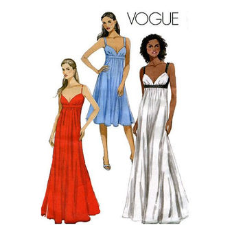 EMPIRE Dress COCKTAIL EVENING Gown Pattern Vogue 8475 Sexy Maxi Dress Swetheart Neck Womens Sewing Patterns Bust 30.5 31.5 32.5 34 UNCuT