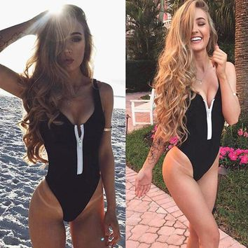 V Neck Zipper One-Piece Swimwear Women Swimsuit Sexy High Cut Bathing Suit Brazilian Bodysuits Black Green Monokini Female 2018