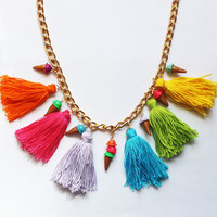 ChainCandy Luxury Colorful Rainbow Tassel Ice Cream Cone Fashion Statement Necklace