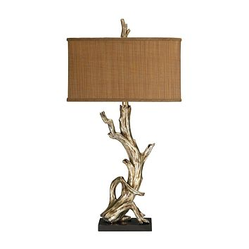 Driftwood Table Lamp in Silver Leaf