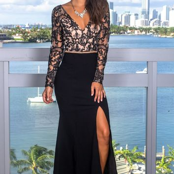 Black and Taupe Embroidered Maxi Dress with Jewel Detail