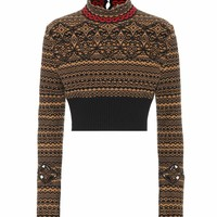 Cropped wool-blend sweater