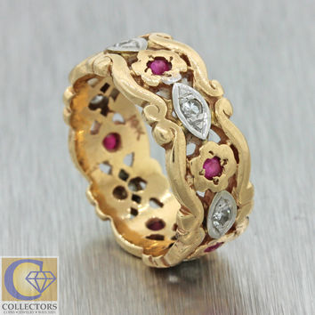 1930s Antique Art Deco 14k Solid Yellow Gold Ruby Diamond Wide Band Ring