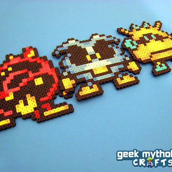 Set of 3 Dr. Mario Viruses - Yellow, Blue, and Red Perler Bead Sprite Collectibles
