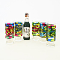 vintage 70s STAINED glass BEER drinking glasses set of 5